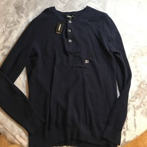 Express Long-Sleeve Navy Knit Henley